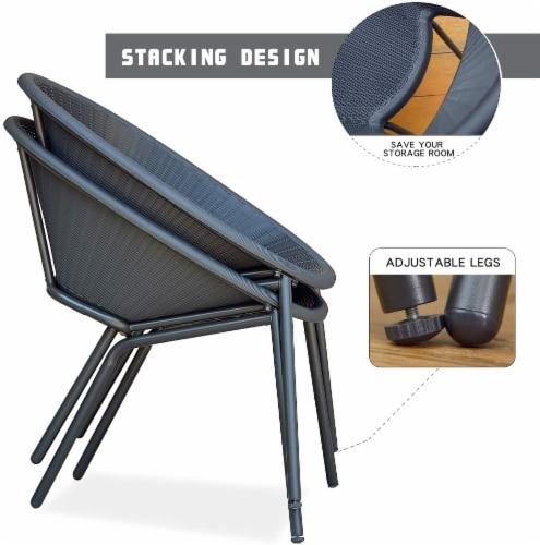 3-Piece Plastic Chair Set All-Weather Patio Conversation Set Perspective: top
