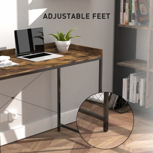 43 Inches Modern Industrial Computer Desk Wood Rustic Furniture for Home Office Perspective: top