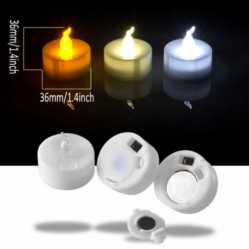 24pcs LED Tea Lights Timer Flameless Flickering Candles Amber Yellow Décor Perspective: top