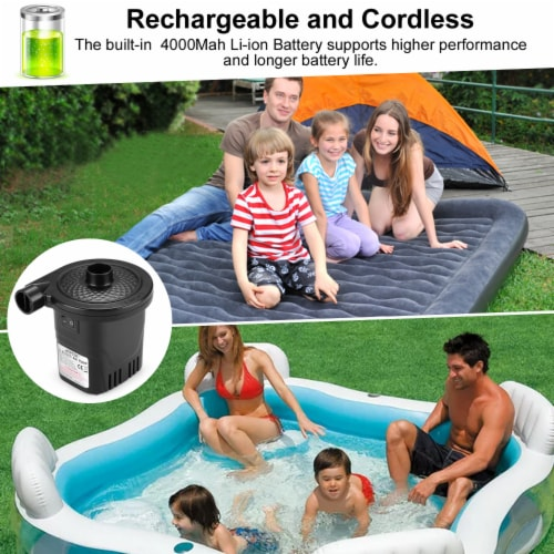 AGPtek Rechargeable Electric Air Pumps 4inch for Inflatables Swimming Ring Mattresses Beds Perspective: top