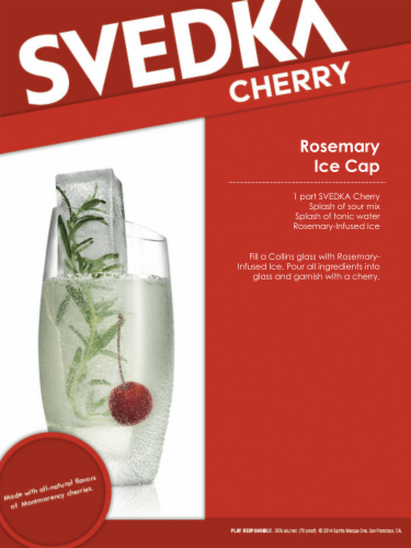 Svedka Cherry Vodka Perspective: top