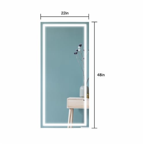 ExBrite Rectangular LED Wall Mounted Full Length Body Mirror Perspective: top
