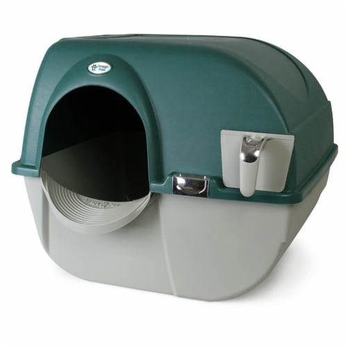 Omega Paw Roll'n Clean Unique No Scoop Self-Cleaning Home Cat Litter Box, Green Perspective: top