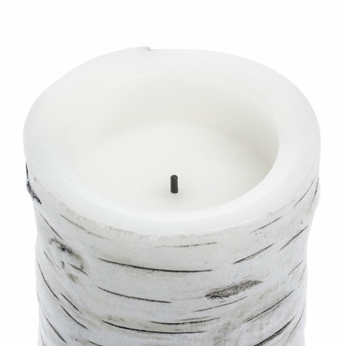 Sterno Home Flameless LED Birch Pillar Candle  - White Perspective: top
