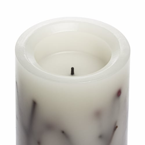 Sterno Home Red Berries and Twigs Flameless Pillar LED Wax Candle - Cream Perspective: top