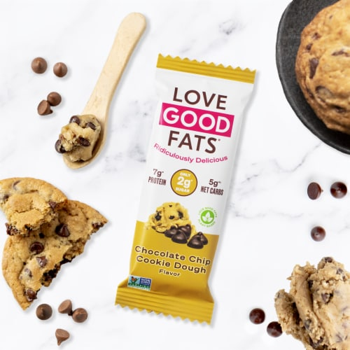 Love Good Fats Plant Based Chocolate Chip Cookie Dough Bar Perspective: top