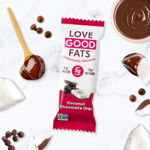 Love Good Fats Coconut Chocolate Chip Keto Protein Bar Perspective: top