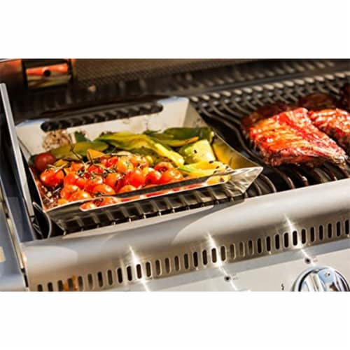 Napoleon PRO Stainless Steel BBQ Grill Basket Topper Tool for Veggies & Meat Perspective: top