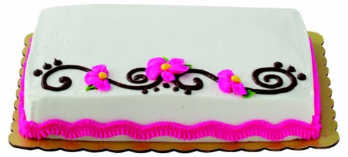 Flower and Scroll Chocolate Cake with Buttercream Icing Perspective: top