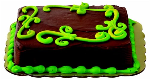 Green Scroll Chocolate Cake with Buttercream Icing Perspective: top