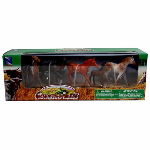 Country Life Farm Animal Set, Five Horses With/Without Saddles (05593F) Perspective: top