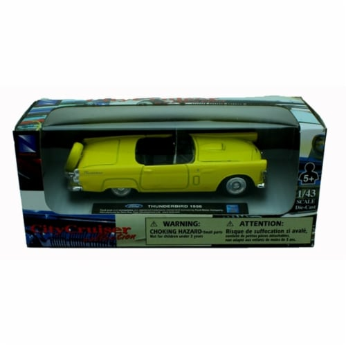 1:43 Scale Die-Cast Yellow 1956 Ford Thunderbird Convertible Perspective: top