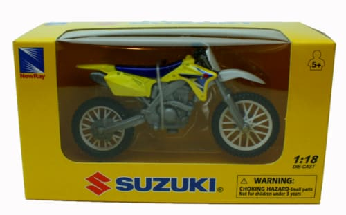1:18 Scale Die-Cast Motorcycle - Yellow Suzuki RM-Z450 Perspective: top