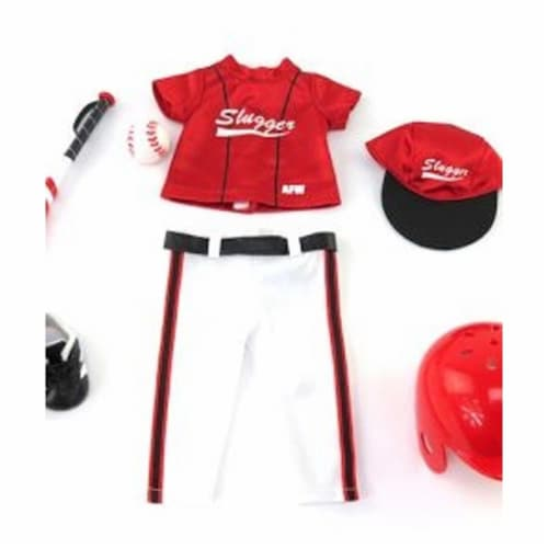 """18"""" Doll Clothing, Red Baseball Slugger Outfit with Accessories Perspective: top"""