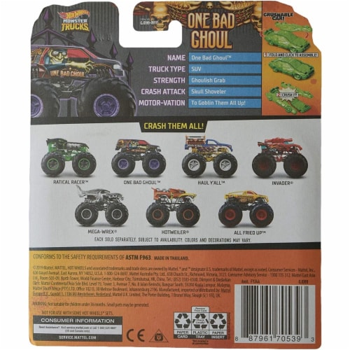 Hot Wheels Monster Trucks 1:64 Scale One Bad Ghoul, Includes Crushable Car Perspective: top