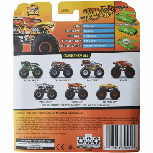 Hot Wheels Monster Trucks 1:64 Scale Hotweiler, Includes Crushable Car Perspective: top