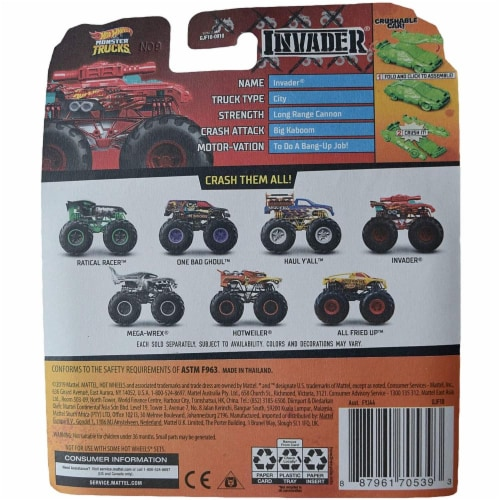 Hot Wheels Monster Trucks 1:64 Scale Invader, Includes Crushable Car Perspective: top