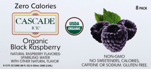 Cascade Ice Organic Black Raspberry Sparkling Water Perspective: top