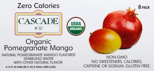 Cascade Ice Organic Pomegranate Mango Sparkling Water Perspective: top