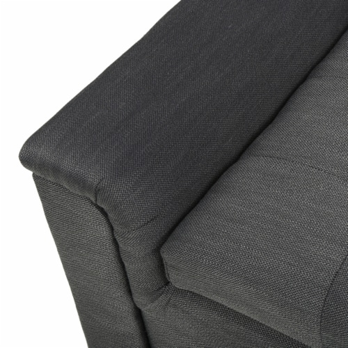 Arthur Grey Tufted Fabric Armed Storage Ottoman Bench Perspective: top