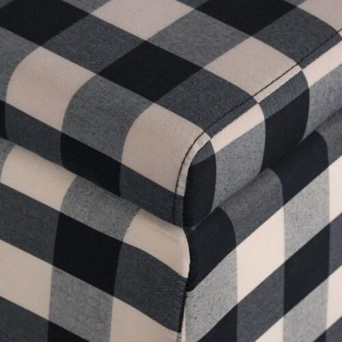 Brianna Black & White Checker Fabric Storage Ottoman Perspective: top