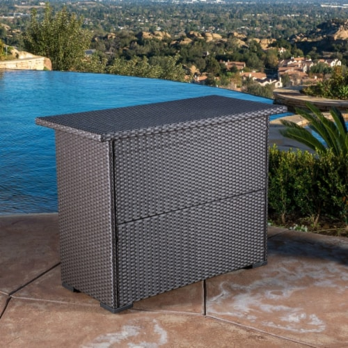 Germar Contemporary Outdoor Dark Brown Polyethylene Bar Perspective: top