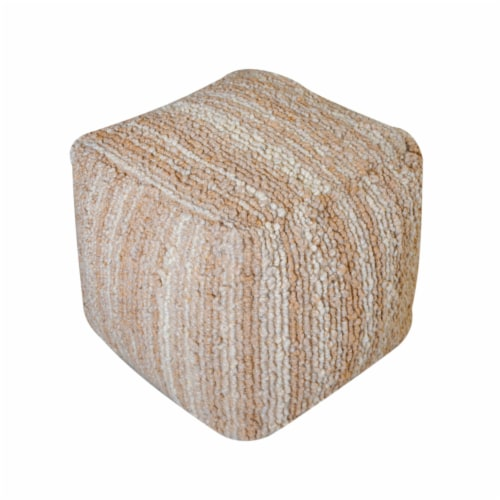 Beso Beige Wool Fabric Artisan Cube Pouf Perspective: top