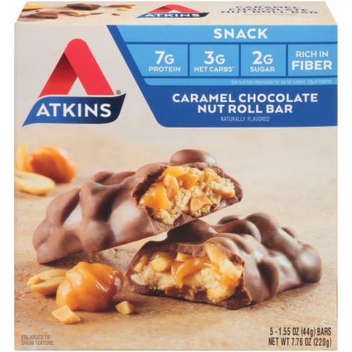 Atkins Caramel Chocolate Nut Roll Bars 5 Count Perspective: top
