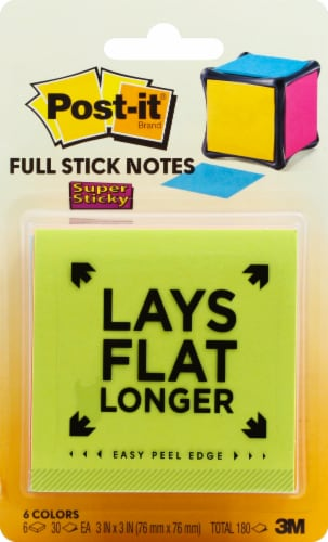 Post-it® Super Sticky Full Adhesive Notes - 6 Pack- Assorted Perspective: top