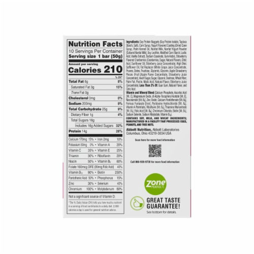 ZonePerfect Strawberry Yogurt Nutrition Bars Perspective: top