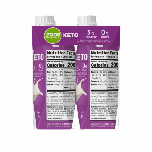 ZonePerfect Keto Vanilla Ready-to-Drink Shakes Perspective: top