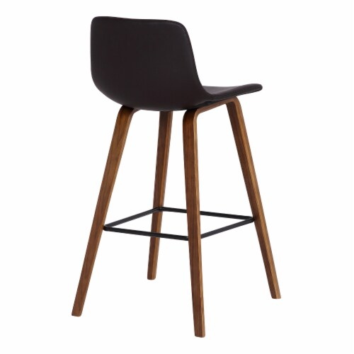 Armen Living Maddie 25.5 H Faux Leather Counter Stool in Walnut and Brown Perspective: top