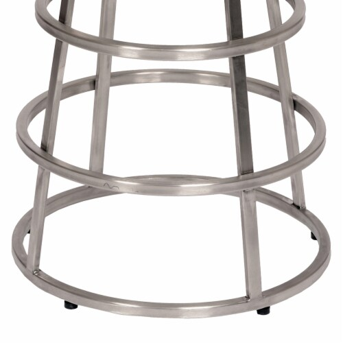 Armen Living Ringo 26  Backless Brushed Stainless Steel Barstool in Gray Faux Leather Perspective: top