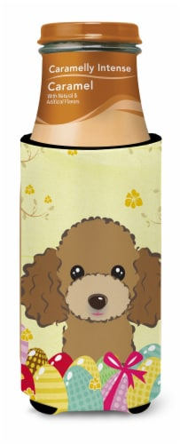 Chocolate Brown Poodle Easter Egg Hunt Michelob Ultra beverage Insulator for sli Perspective: top