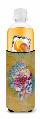 Day of the Dead Flowers Skull  Michelob Ultra Hugger for slim cans Perspective: top