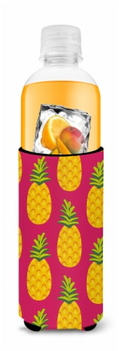 Pineapples on Pink Michelob Ultra Hugger for slim cans Perspective: top