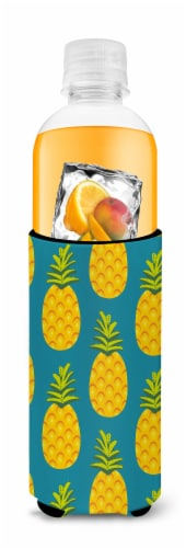 Pineapples on Teal Michelob Ultra Hugger for slim cans Perspective: top