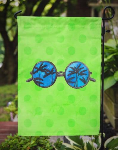 Carolines Treasures  BB8175GF Sunglasses Green Polkadot Flag Garden Size Perspective: top