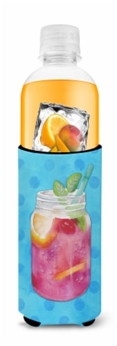 Mason Jar Cocktail Blue Polkadot Michelob Ultra Hugger for slim cans Perspective: top