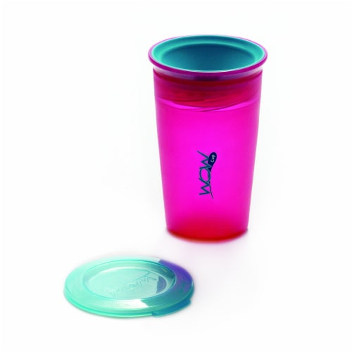 Wow Cup for Kids Original 360 Sippy Cup, Pink with Blue Lid, 9 oz TWO PACK Perspective: top
