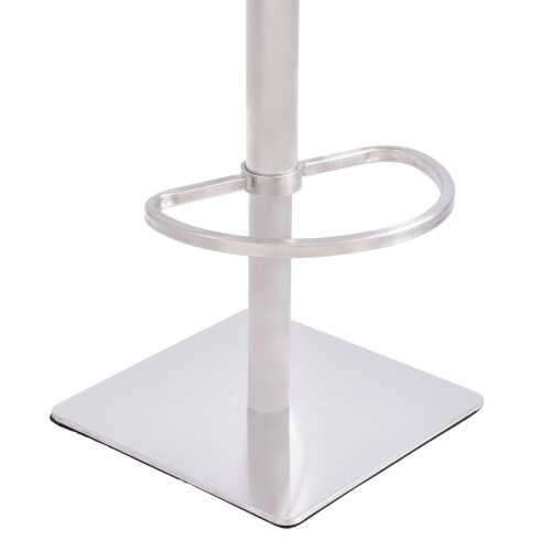Crystal Barstool in Brushed Stainless Steel finish with Gray Fabric and Walnut Back Perspective: top