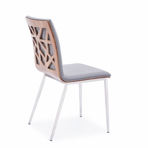 Dining Chair, Brushed Stainless Steel finish with Grey Faux Leather and Walnut Back -Set of 2 Perspective: top