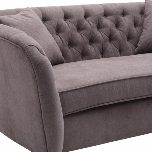 Armen Living Rhianna Transitional Loveseat in Brown Tufted Chair Perspective: top