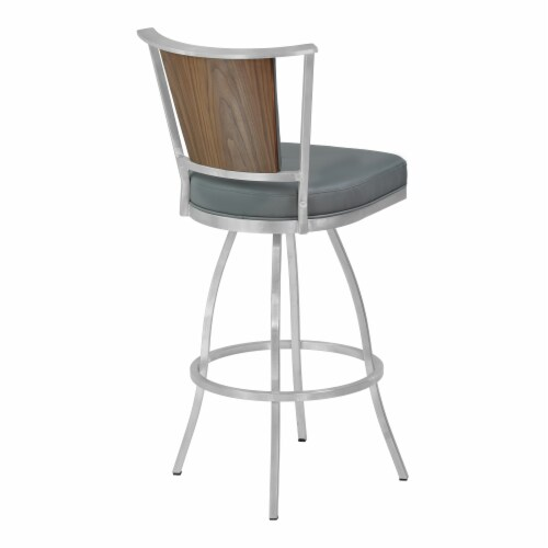 30  Barstool in Gray Faux Leather with Brushed Stainless Steel Finish and Walnut Veneer Back Perspective: top