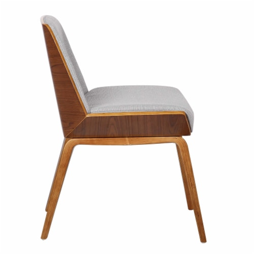 Armen Living Agi Mid-Century Dining Chair in Walnut Wood and Gray Fabric Perspective: top