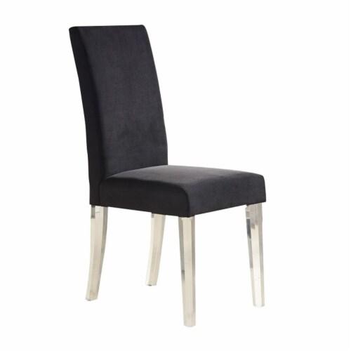 Armen Living Dalia Velvet Upholstered Dining Chair in Black (Set of 2) Perspective: top