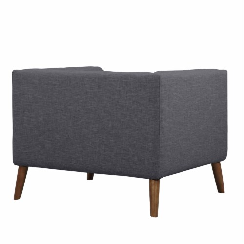 Armen Living Hudson Button-Tufted Chair in Dark Gray Perspective: top