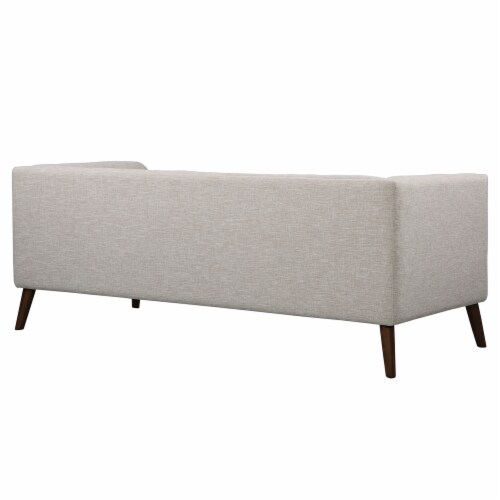 Armen Living Hudson Mid-Century Button-Tufted Sofa in Beige Linen and Walnut Legs Perspective: top