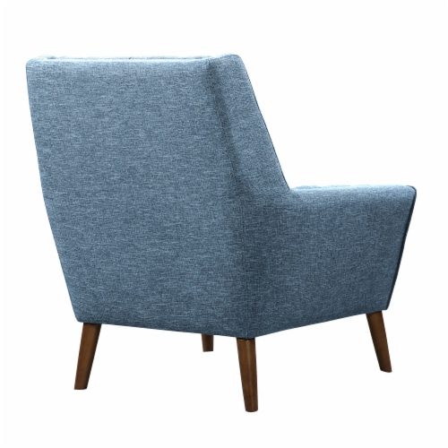 Armen Living Cobra Mid-Century Modern Chair in Blue Linen and Walnut Legs Perspective: top