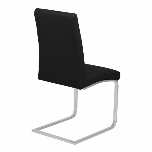 Blanca Dining Chair in Black Faux Leather with Brushed Stainless Steel Finish - Set of 2 Perspective: top